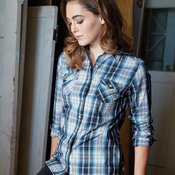 Vintage Ladies' Plaid Long Sleeve Shirt
